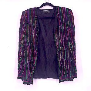 Vintage sequin blazer size small silk